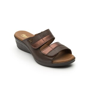 Sandalia Casual Flexicon Doble Velcro Para Mujer - Estilo 100002 Cafe